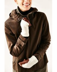 Urban Outfitters - Brown Fuzzy Knit Leather Glove - Lyst