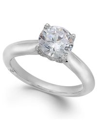 Marchesa | Metallic Classic By Certified Diamond Solitaire Engagement Ring In 18k White Gold (1-5/8 Ct. T.w.) | Lyst