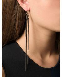 Ann Demeulemeester - Black Hanging Chain Earring - Lyst