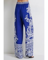 Forever 21 - Blue Ornate Paisley Palazzo Pants - Lyst