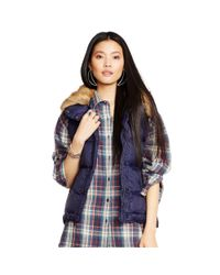 Denim & Supply Ralph Lauren | Blue Faux-fur-trim Down Vest | Lyst
