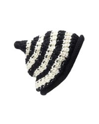 Forever 21 - Black Stripe Textured Fold-over Beanie - Lyst
