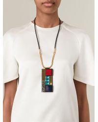 Marni - Black Rectangular Pendant Necklace - Lyst