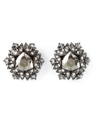Lanvin | Metallic Crystal Earrings | Lyst