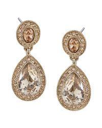 Carolee   Metallic Gold-tone Pave Glass Teardrop Earrings   Lyst