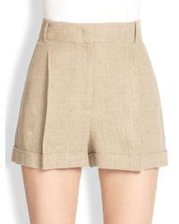 Michael Kors - Pleated Linen Shorts - Lyst