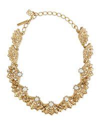 Oscar de la Renta - Metallic Pearly Filigree Fan Necklace - Lyst