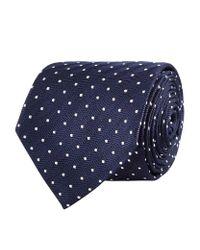 Harrods - Blue Herringbone Spot Tie for Men - Lyst