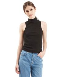 TOPSHOP - Black Ribbed Mock Collar Tank - Lyst