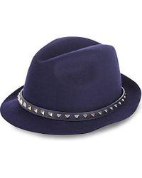 Valentino | Blue Rockstud Felt Hat | Lyst