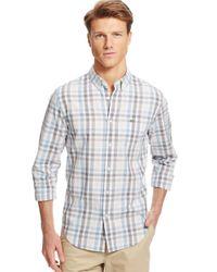 Lacoste - Metallic Regular Fit Poplin Gingham Check Sportshirt for Men - Lyst