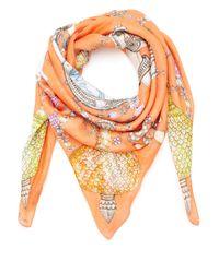 Swash London - Orange Coral Locket Print Silk Scarf - Lyst