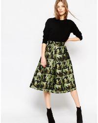 ASOS | Green Full Midi Skirt In Camouflage Jacquard - Multi | Lyst