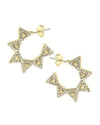 House of Harlow 1960 | Metallic Geodesic Triangle Mini Hoops | Lyst