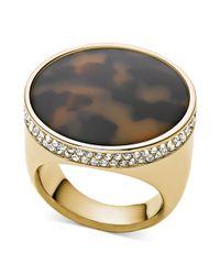 Michael Kors | Metallic Goldtone Pavè Edge Tortoise Dome Ring | Lyst