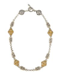 Konstantino - Metallic Double-Sided Scroll Station Necklace W/ Citrine - Lyst