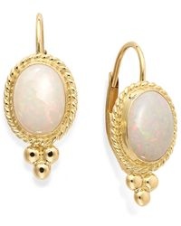 Macy's | Metallic Opal Oval Leverback Earrings In 14K Gold (8X6Mm) | Lyst