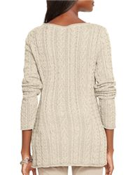 Lauren by Ralph Lauren - Natural Petite Cable-knit Cotton Sweater - Lyst