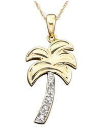 Macy's | Metallic Diamond Accent Palm Tree Charm Pendant Necklace In 14k Gold | Lyst