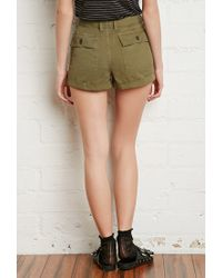 Forever 21 - Green Cuffed-hem Cotton Shorts - Lyst