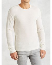 John Varvatos | White Waffle Stitch Crewneck for Men | Lyst