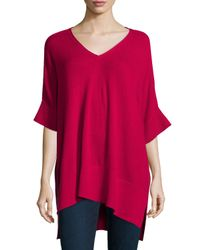 Neiman Marcus | Red Short-sleeve High-low Cashmere Tunic | Lyst