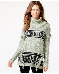 Kensie - Gray Printed Fringe-detail Sweater - Lyst