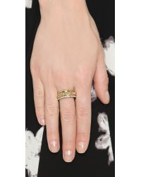 Rebecca Minkoff - Metallic Three Band Ring Set - Gold/clear - Lyst
