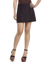 Re:named | Black Studded Faux Suede Mini Skirt | Lyst