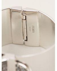 Fendi | Metallic Fox Fur and Crystal Bracelet | Lyst