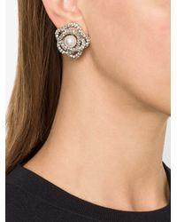 Oscar de la Renta | Metallic Flower Pearl Clip-on Earrings | Lyst