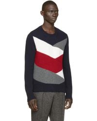 Moncler Gamme Bleu | Gray Multicolor Knit Sweater for Men | Lyst