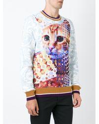 Etro - Blue Cat Print Sweatshirt for Men - Lyst