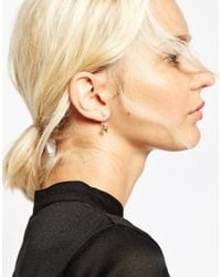 ASOS | Metallic Rose Gold Plated Brass Mismatch Ear Cuff And Swing Earrings | Lyst