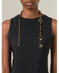 Lanvin | Metallic Key Pendant Open Necklace | Lyst