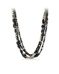 David Yurman - Dy Signature Bead Necklace With Black Onyx, Hematine And Pyrite In 18k Gold - Lyst