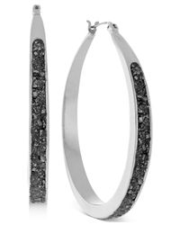 BCBGeneration | Metallic Silver-tone Crushed Pyrite Small Hoop Earrings | Lyst