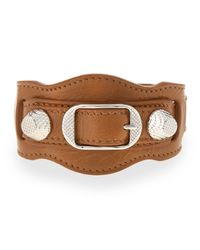 Balenciaga | Brown Giant 12 Leather Buckle Bracelet | Lyst