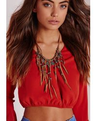 Missguided | Suede Coin Necklace Brown | Lyst