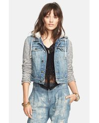 Free People | Blue Denim & Knit Jacket | Lyst