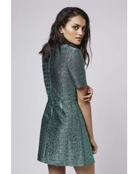 TOPSHOP - Green Tinsel Wrap A-line Dress - Lyst