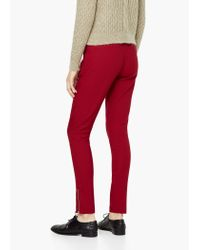 Mango - Red Zip Cotton Trousers - Lyst
