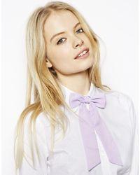 ASOS | Purple Chiffon Bow Neck Tie | Lyst