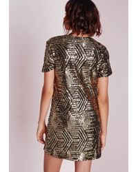 Missguided - Metallic Sequin Shift Dress Gold/black - Lyst