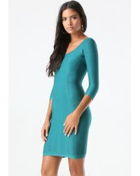 Bebe - Blue Textured Bodycon Dress - Lyst