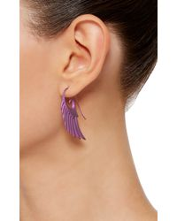 Noor Fares - Fly Me To The Moon Wing Earrings In Purple Titanium - Lyst