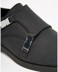 ASOS - Monk Shoes In Black Leather With Seatbelt Buckles for Men - Lyst