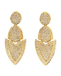 Kara Ross | Metallic Gold-Plated Crystal Earrings | Lyst
