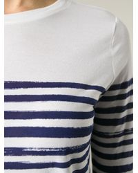 Vince - White Striped Long Sleeve T-Shirt - Lyst