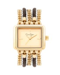 Jessica Simpson - Metallic Womens Brown Braided Leather and Gold Ionplated Multichain Bracelet Watch 27x32mm Js023b - Lyst